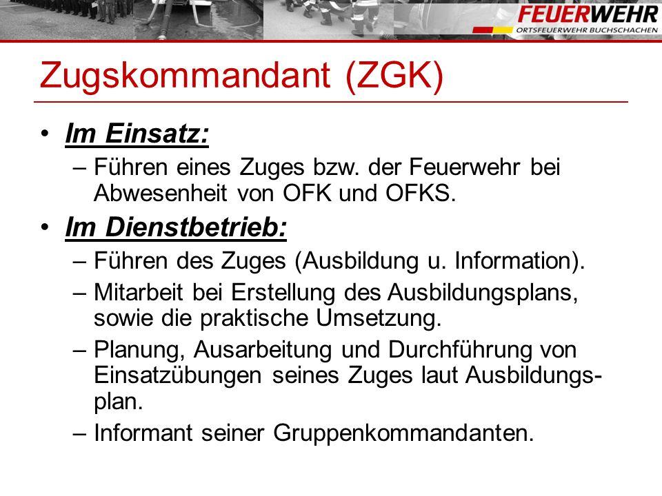Zugskommandant (ZGK) Im Einsatz: Im Dienstbetrieb: