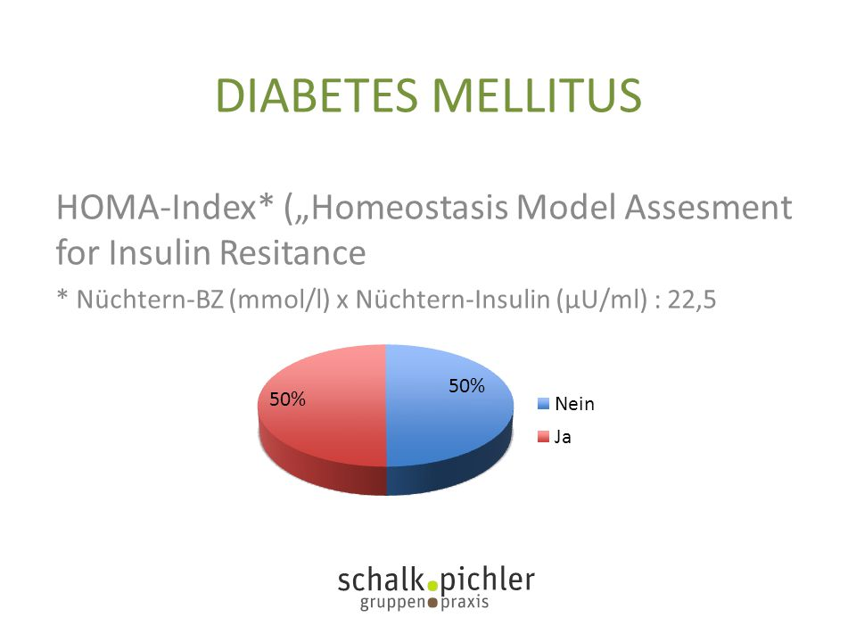 "DIABETES MELLITUS HOMA-Index* (""Homeostasis Model Assesment for Insulin Resitance."