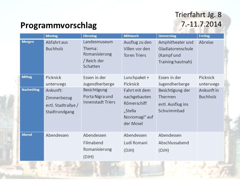 Programmvorschlag Trierfahrt Jg. 8 7.-11.7.2014 Abfahrt aus Buchholz