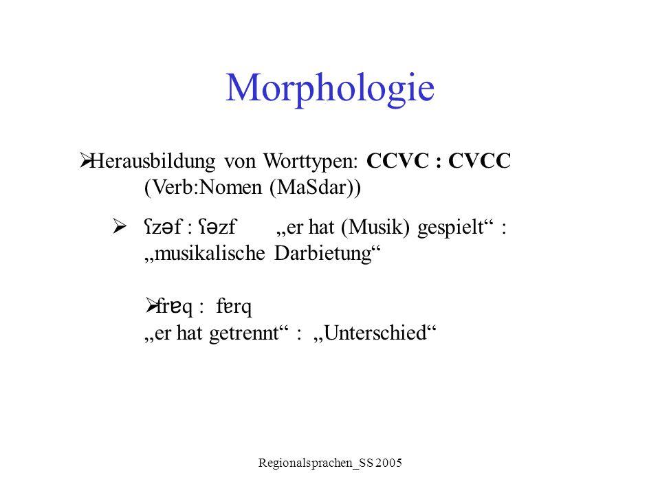 """Morphologie Herausbildung von Worttypen: CCVC : CVCC (Verb:Nomen (MaSdar)) ʕzəf : ʕəzf """"er hat (Musik) gespielt : """"musikalische Darbietung"""