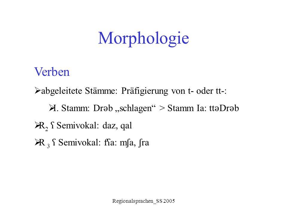 Morphologie Verben abgeleitete Stämme: Präfigierung von t- oder tt-: