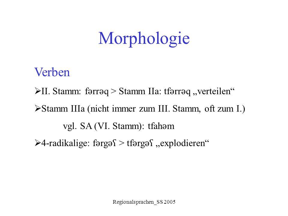 """Morphologie Verben. II. Stamm: fǝrrǝq > Stamm IIa: tfǝrrǝq """"verteilen Stamm IIIa (nicht immer zum III. Stamm, oft zum I.)"""