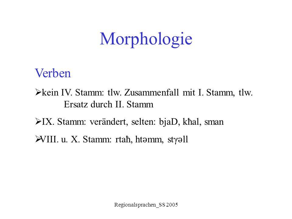 Morphologie Verben. kein IV. Stamm: tlw. Zusammenfall mit I. Stamm, tlw. Ersatz durch II. Stamm. IX. Stamm: verändert, selten: bjaD, kħal, sman.