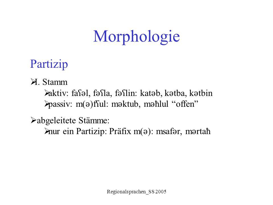 Morphologie Partizip I. Stamm