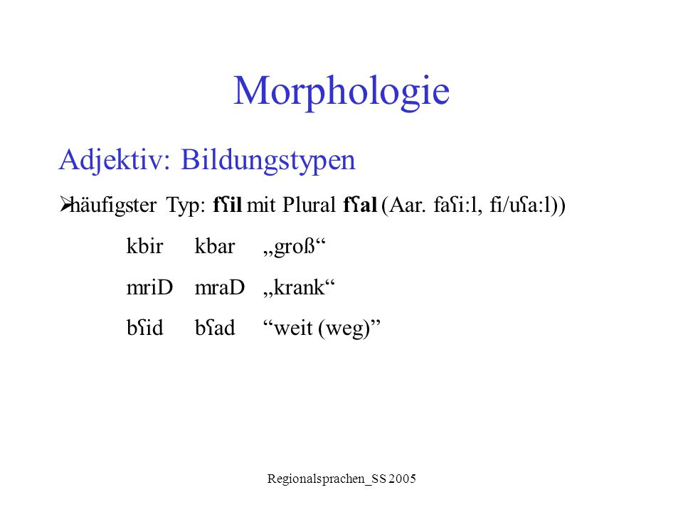 Morphologie Adjektiv: Bildungstypen