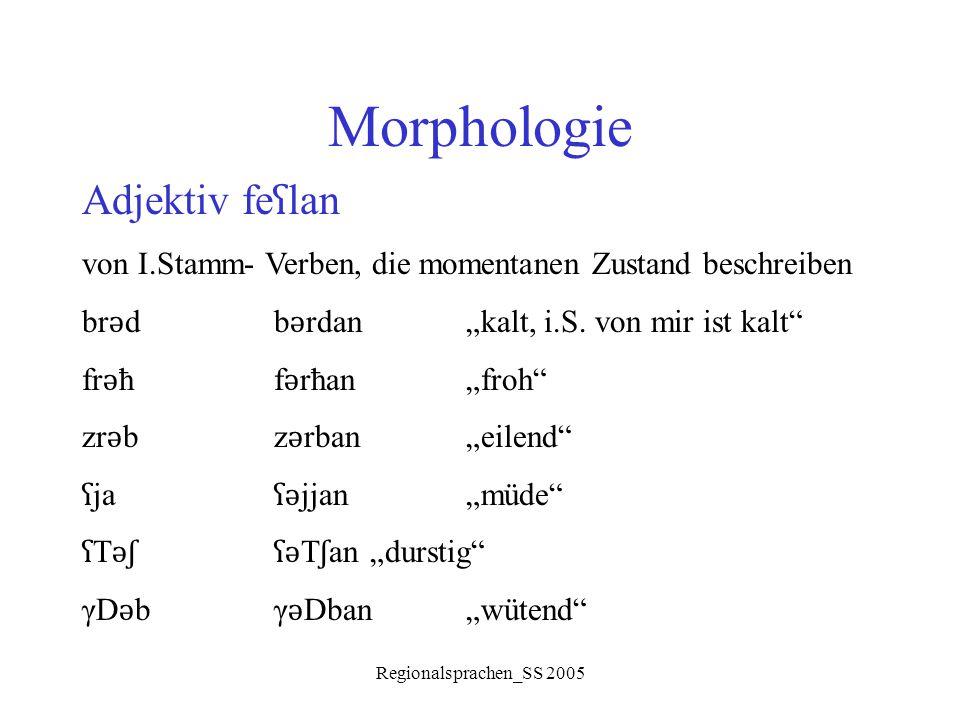 Morphologie Adjektiv feʕlan