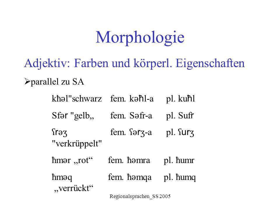 Morphologie Adjektiv: Farben und körperl. Eigenschaften parallel zu SA