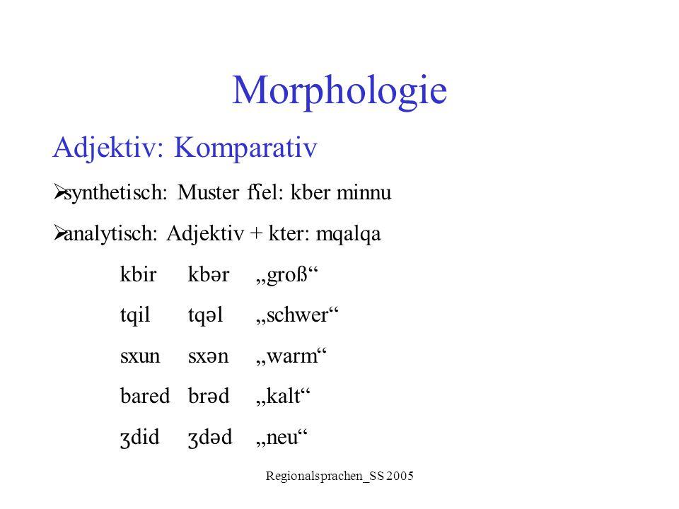 Morphologie Adjektiv: Komparativ synthetisch: Muster fʕel: kber minnu
