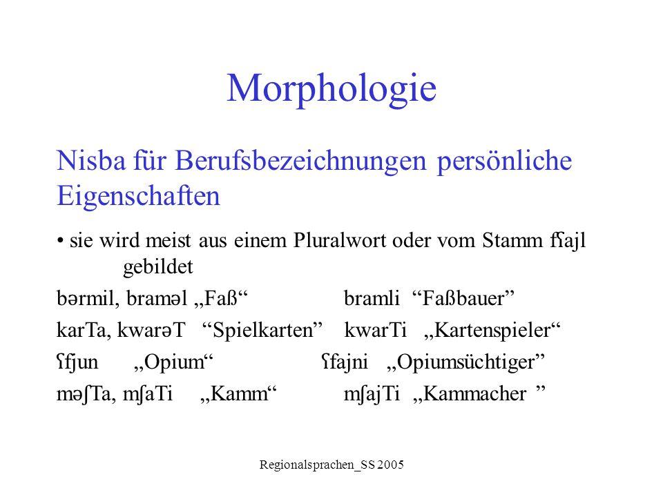 Morphologie Nisba für Berufsbezeichnungen persönliche Eigenschaften