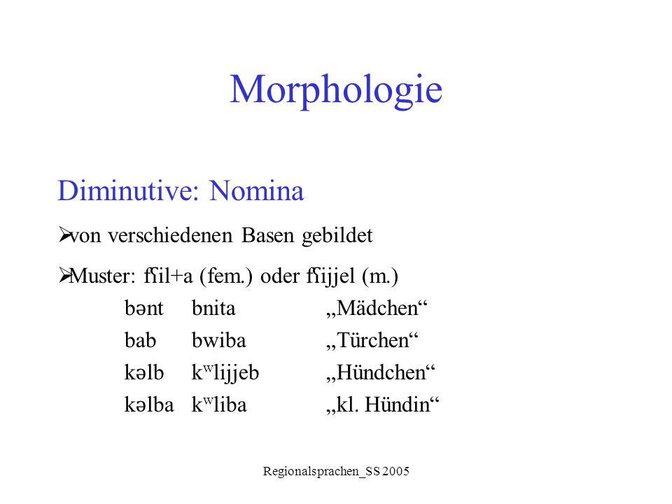 Morphologie Diminutive: Nomina von verschiedenen Basen gebildet