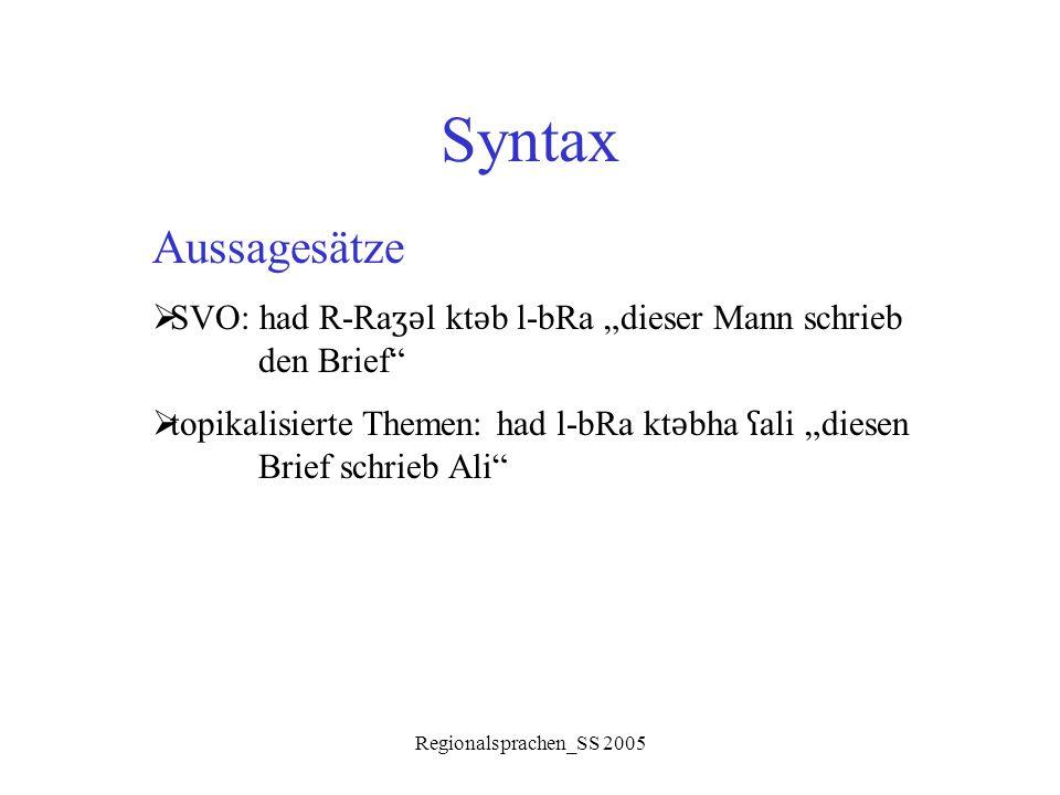"""Syntax Aussagesätze. SVO: had R-Raʒǝl ktǝb l-bRa """"dieser Mann schrieb den Brief"""