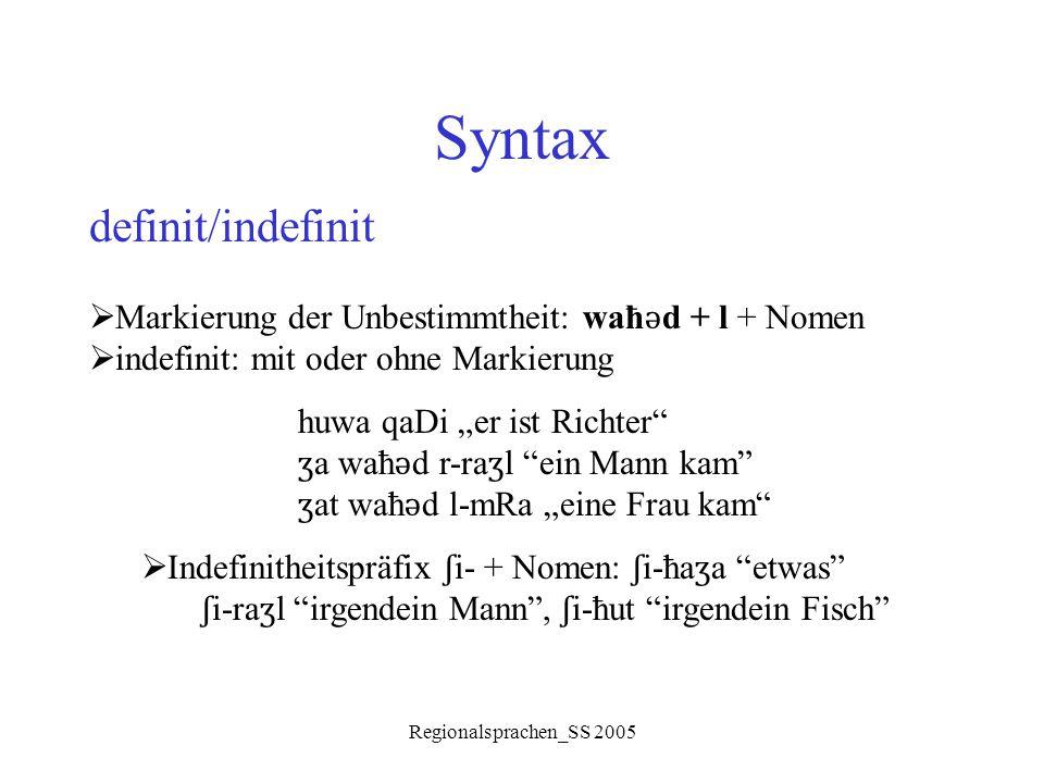 Syntax definit/indefinit