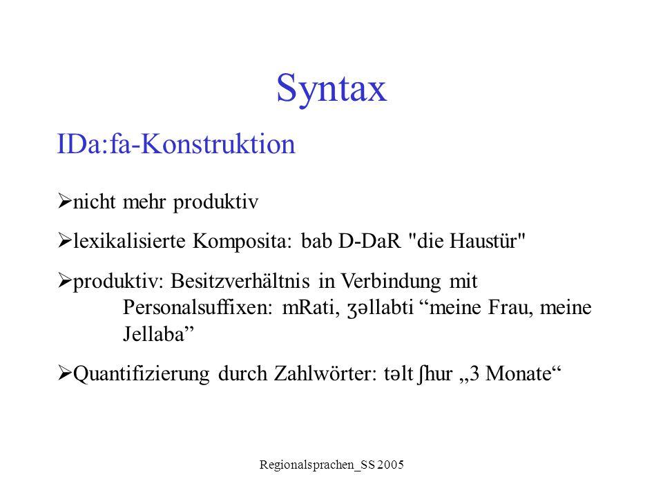 Syntax IDa:fa-Konstruktion nicht mehr produktiv