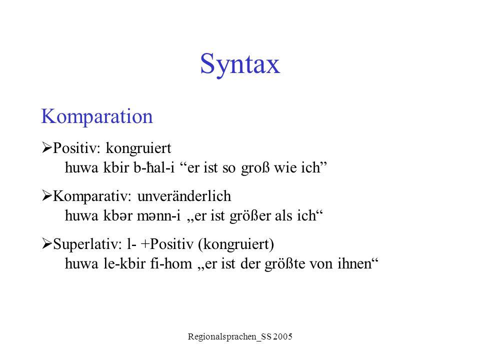 Syntax Komparation Positiv: kongruiert