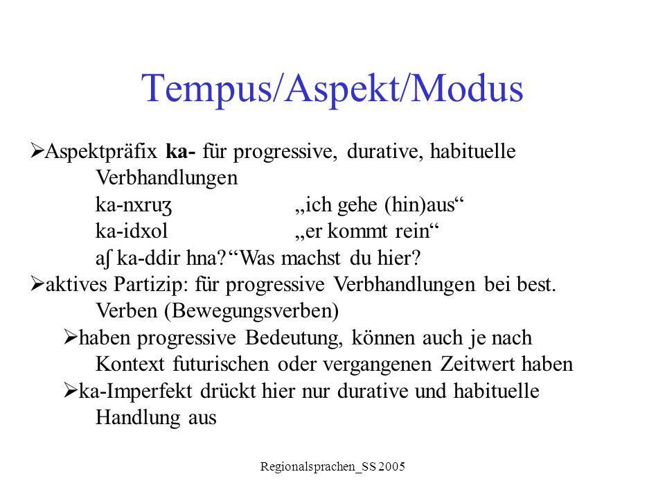 """Tempus/Aspekt/Modus Aspektpräfix ka- für progressive, durative, habituelle Verbhandlungen. ka-nxruʒ """"ich gehe (hin)aus"""