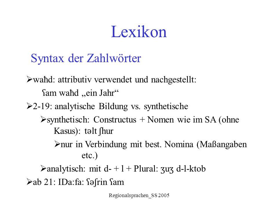 Lexikon Syntax der Zahlwörter