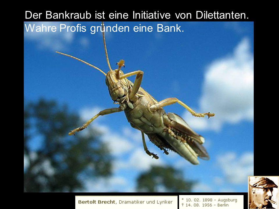 Der Bankraub ist eine Initiative von Dilettanten.
