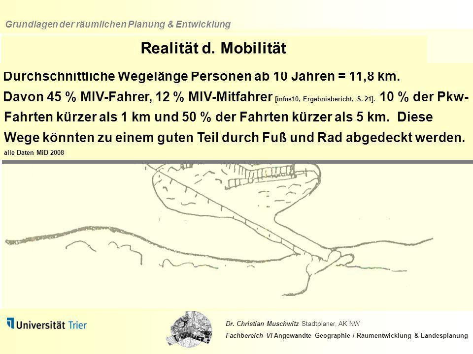 Realität d. Mobilität Durchschnittliche Wegelänge Personen ab 10 Jahren = 11,8 km.