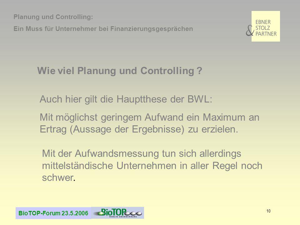 Wie viel Planung und Controlling