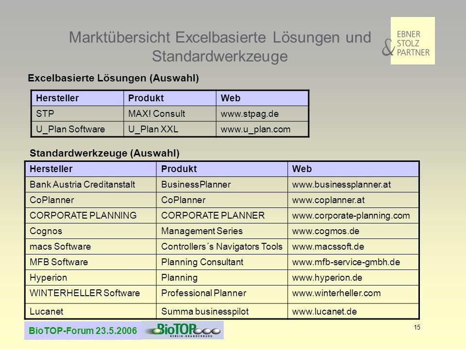 Marktübersicht Excelbasierte Lösungen und Standardwerkzeuge