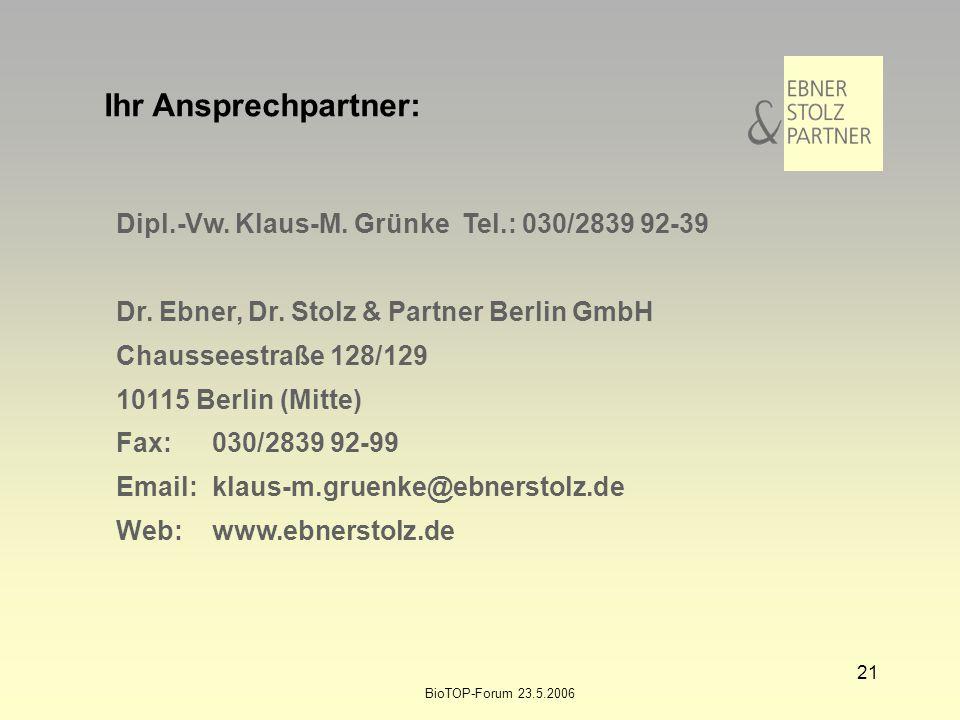 Ihr Ansprechpartner: Dipl.-Vw. Klaus-M. Grünke Tel.: 030/2839 92-39