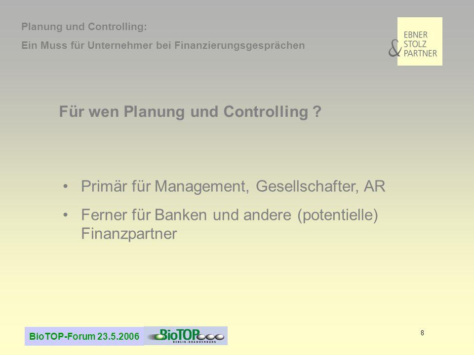 Für wen Planung und Controlling