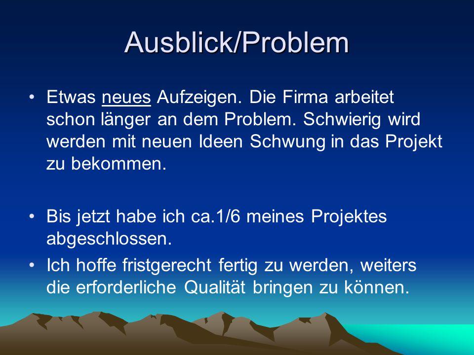 Ausblick/Problem