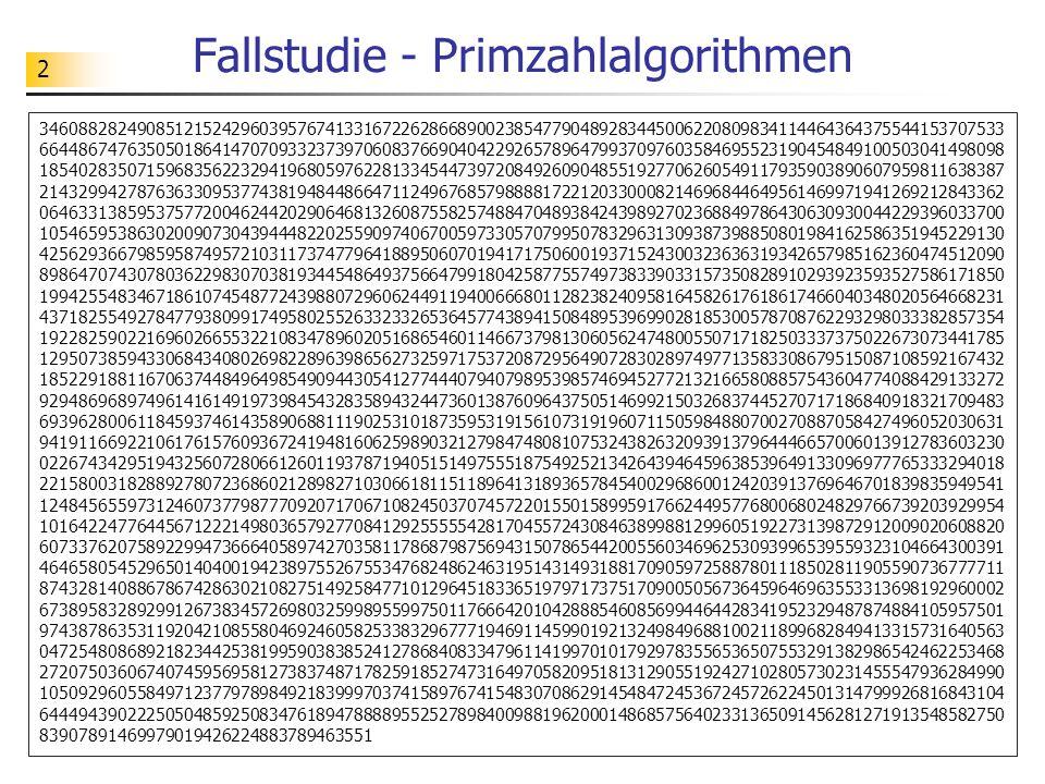Fallstudie - Primzahlalgorithmen