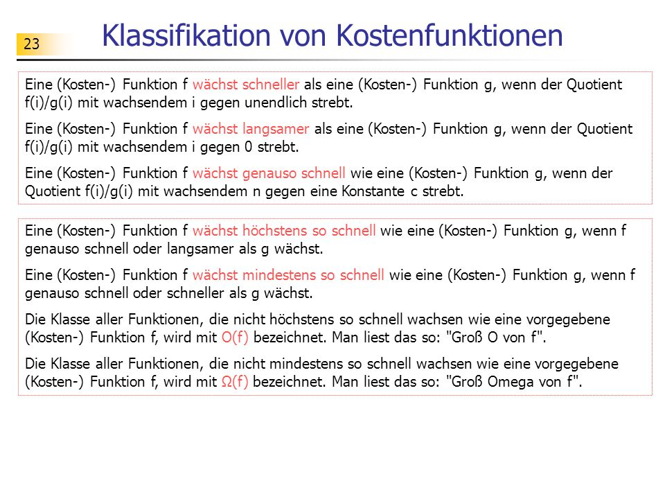 Klassifikation von Kostenfunktionen