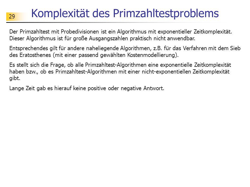 Komplexität des Primzahltestproblems