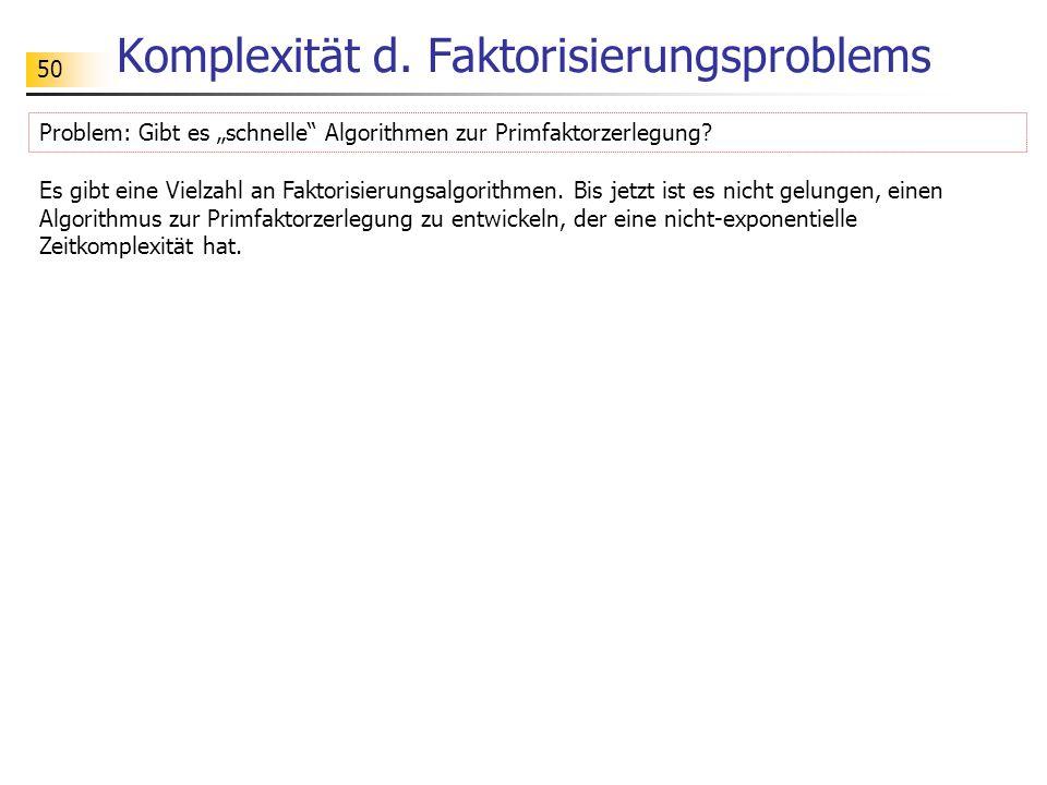 Komplexität d. Faktorisierungsproblems