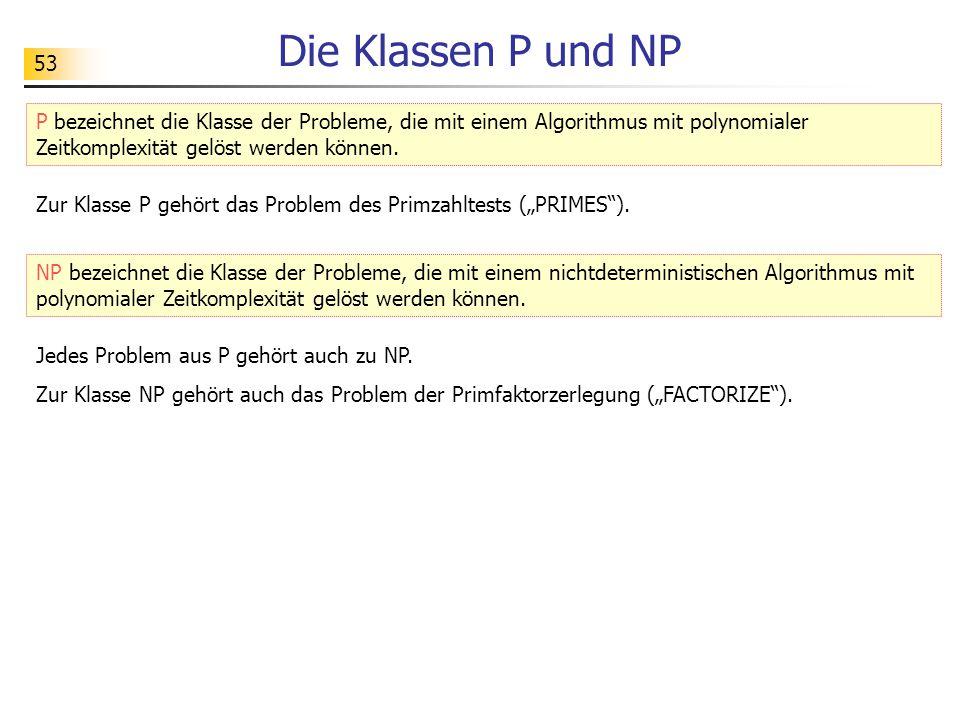 Die Klassen P und NP P bezeichnet die Klasse der Probleme, die mit einem Algorithmus mit polynomialer Zeitkomplexität gelöst werden können.