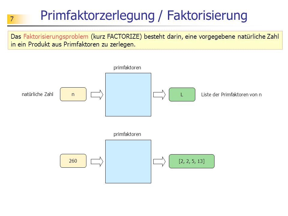 Primfaktorzerlegung / Faktorisierung