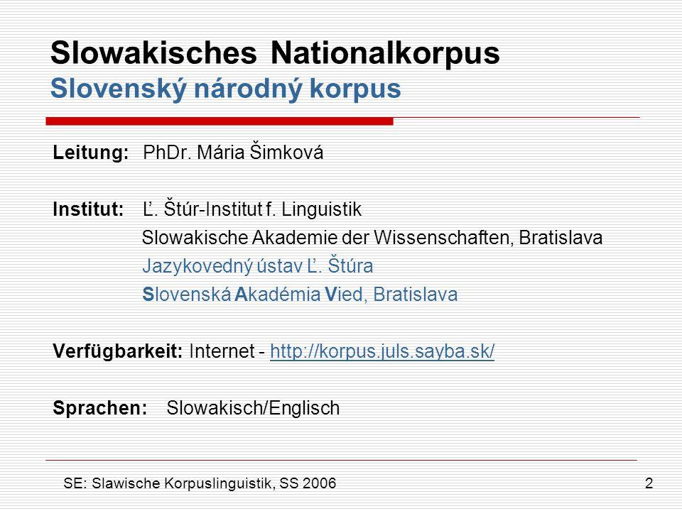 Slowakisches Nationalkorpus Slovenský národný korpus