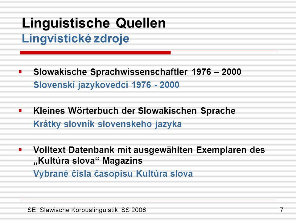 Linguistische Quellen Lingvistické zdroje