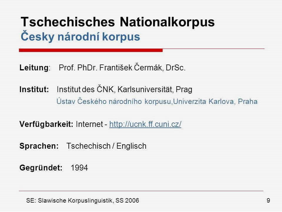 Tschechisches Nationalkorpus Česky národní korpus