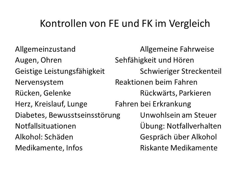 Kontrollen von FE und FK im Vergleich