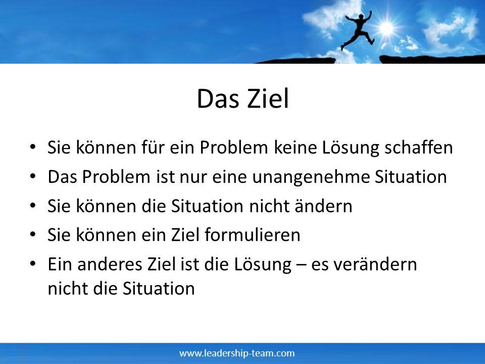 Das Ziel Sie können für ein Problem keine Lösung schaffen