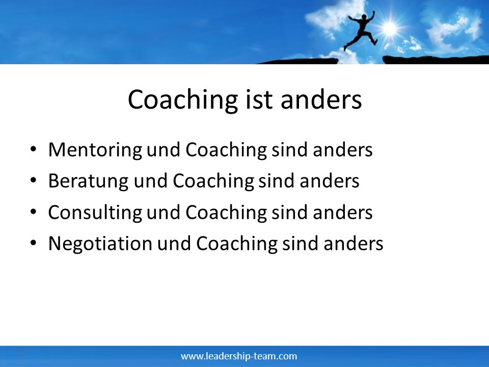 Coaching ist anders Mentoring und Coaching sind anders