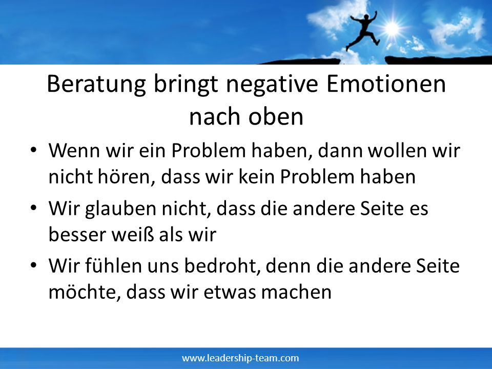 Beratung bringt negative Emotionen nach oben