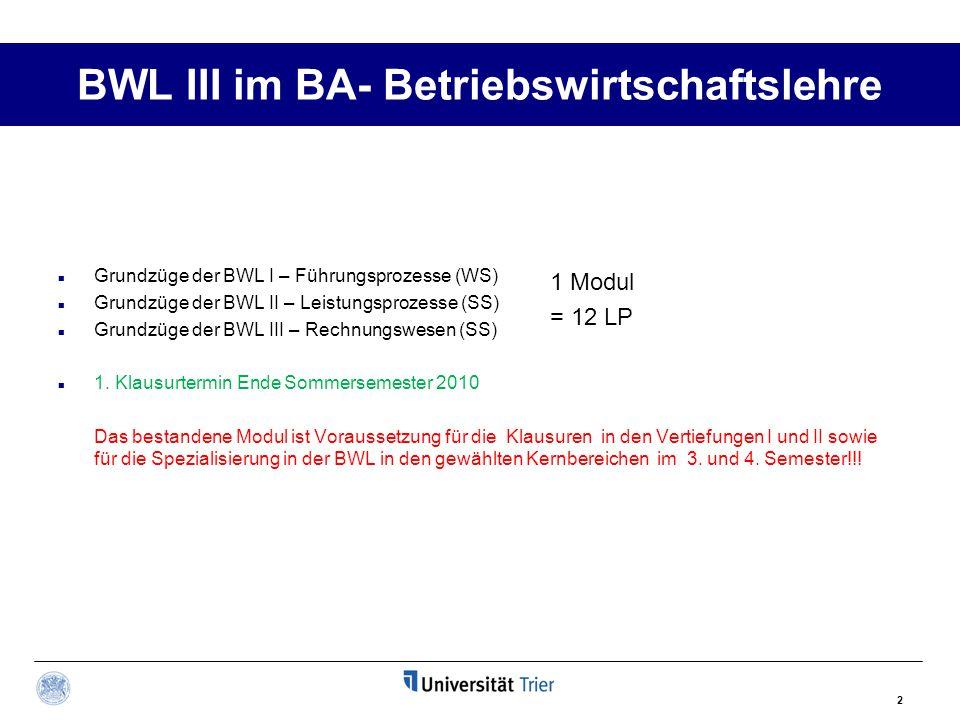 BWL III im BA- Betriebswirtschaftslehre