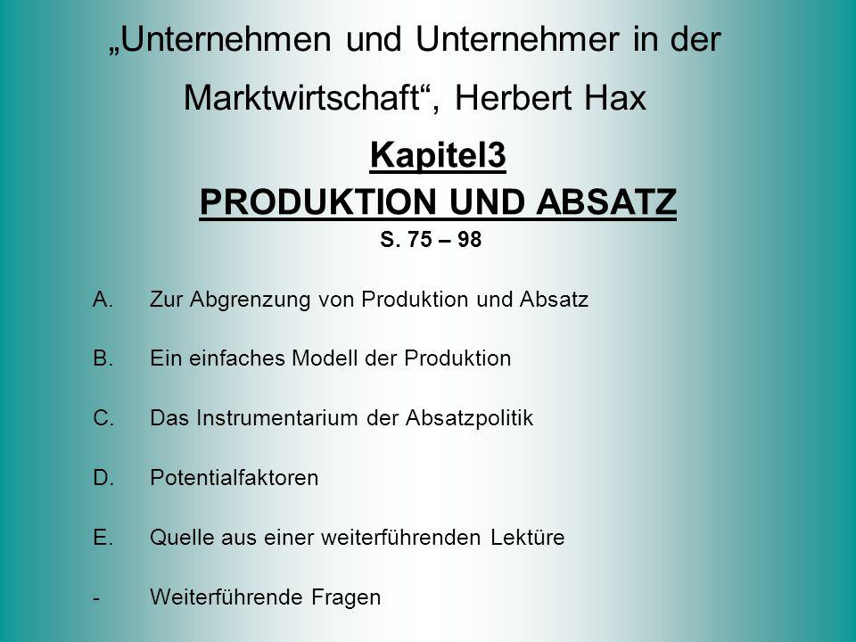 """""""Unternehmen und Unternehmer in der Marktwirtschaft , Herbert Hax"""