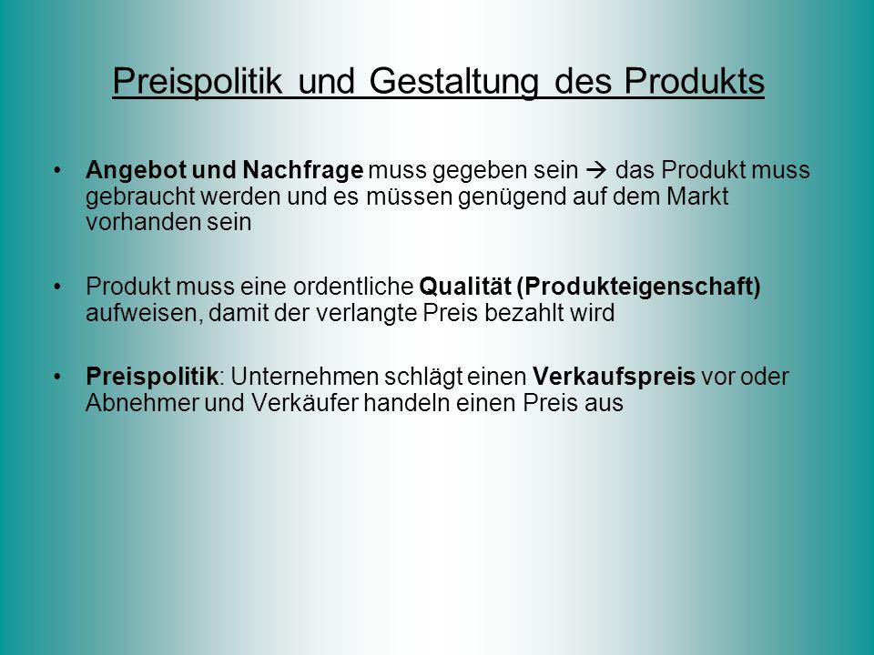 Preispolitik und Gestaltung des Produkts