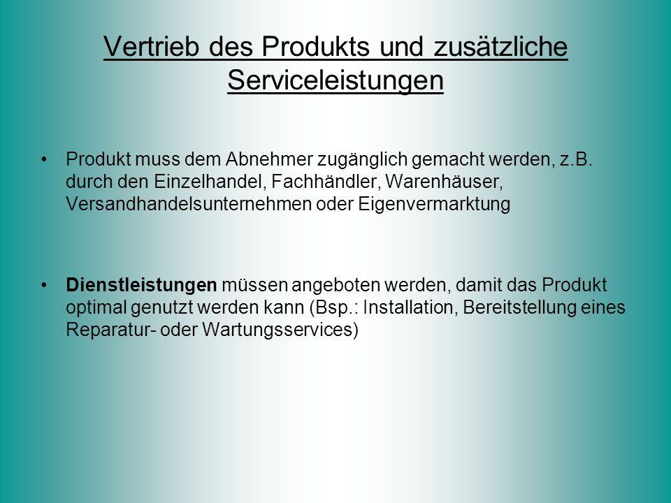 Vertrieb des Produkts und zusätzliche Serviceleistungen