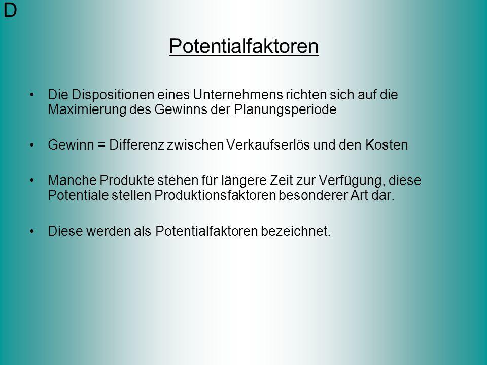 D Potentialfaktoren. Die Dispositionen eines Unternehmens richten sich auf die Maximierung des Gewinns der Planungsperiode.