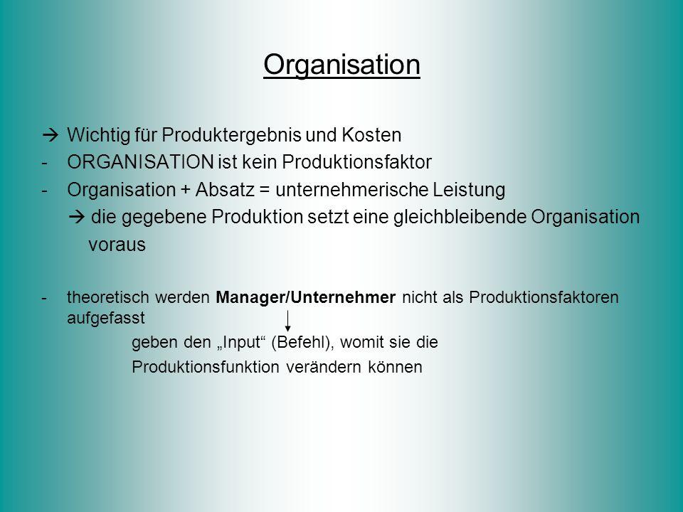 Organisation Wichtig für Produktergebnis und Kosten