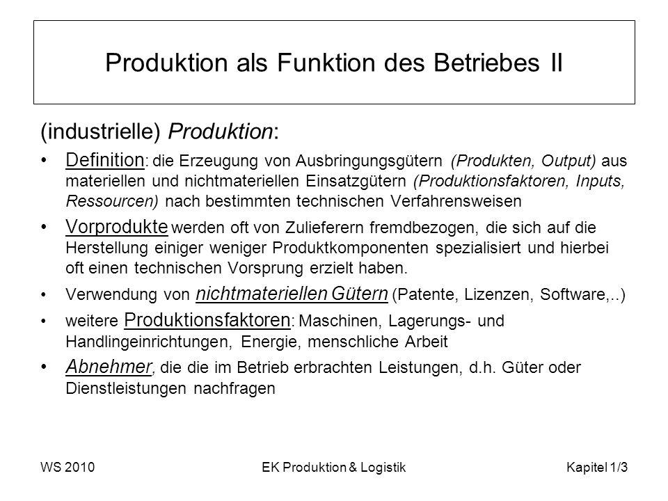 Produktion als Funktion des Betriebes II