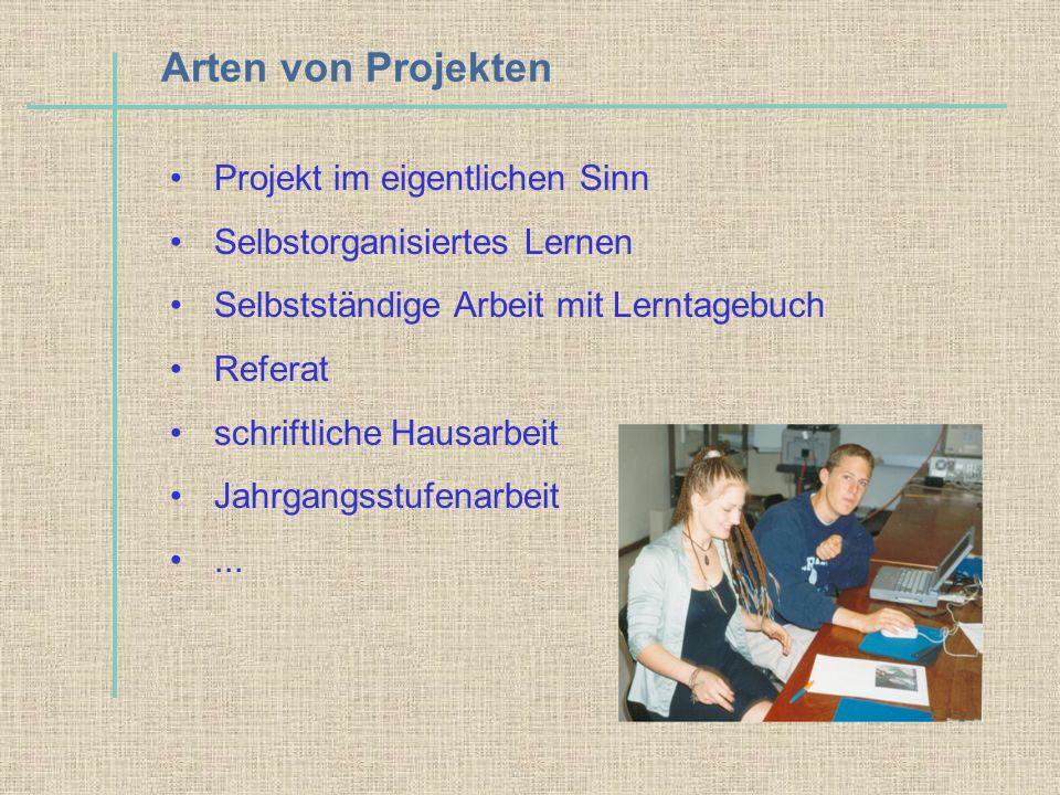 Arten von Projekten Projekt im eigentlichen Sinn