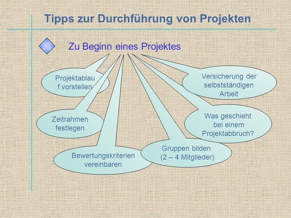 Tipps zur Durchführung von Projekten