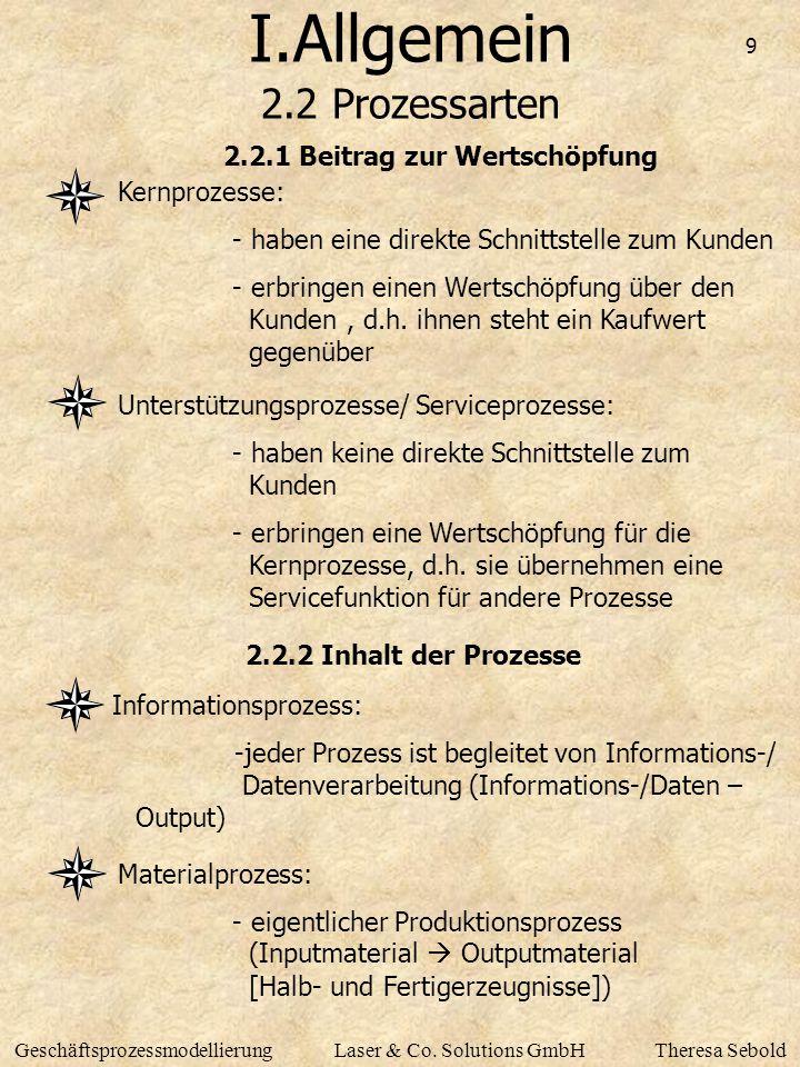 I.Allgemein 2.2 Prozessarten